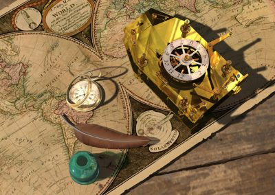 3D illustration of old maps and navigation instruments