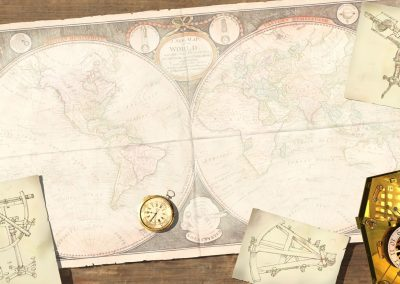3D illustration of 18th century map and navigation tools