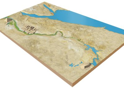 3D map showing River Nile, pyramids and temples
