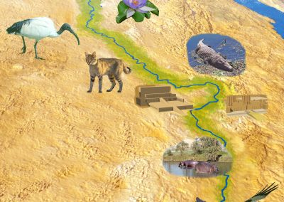3D map of Egypt showing River Nile, ancient buildings and wildlife