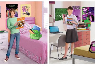 Illustrations of teenage girl's bedroom