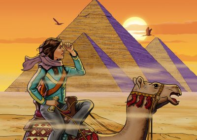 Illustration of girl on camel by pyramids